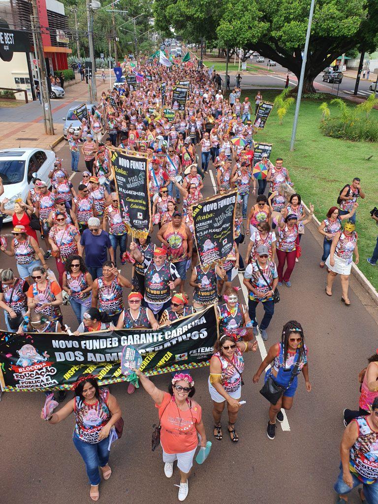 Novo Fundeb: ACP e Fetems levam o bloco da educação para o Carnaval de rua de Campo Grande, em defesa da escola pública