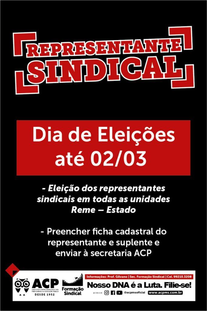 02 de março: Eleja seu representante sindical ACP!
